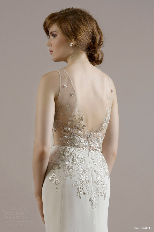 liancarlo bridal fall 2015 wedding dress style 6816 silk crepe v neck sleeveless sheath gown bouquet embroidery bodice illusion back sand candlelight color back view close up