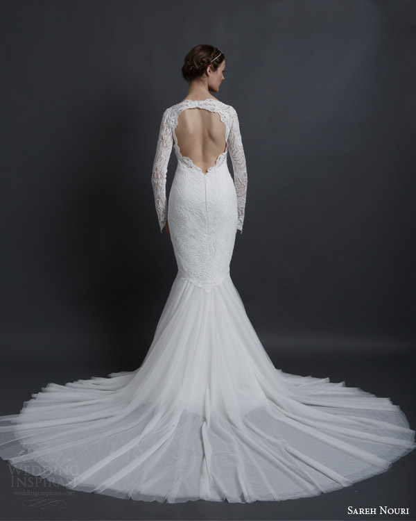 sareh nouri spring 2016 bridal esther long sleeve mermaid wedding dress keyhole back train view