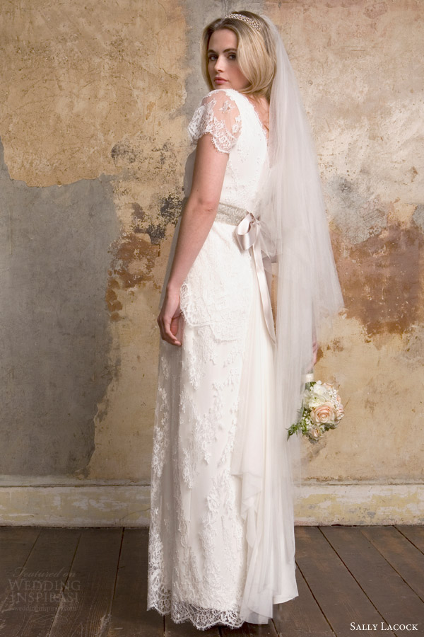 sally lacock 2015 bridal bea 1920s style lace wedding dresses illusion scalloped short sleeves side view