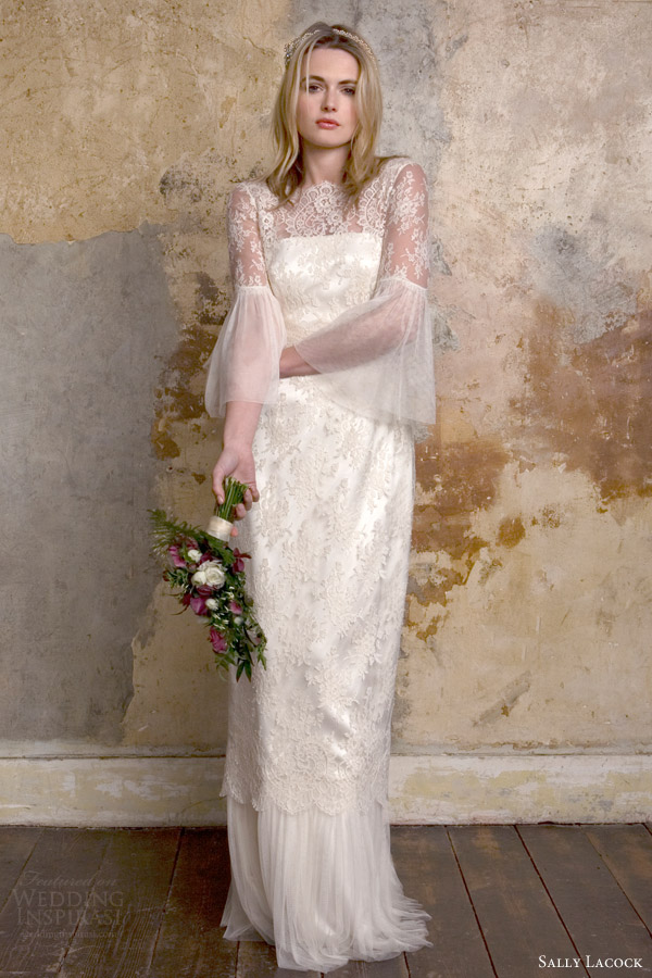 sally lacock bridal 2015 honor lace wedding dress long bell sleeves