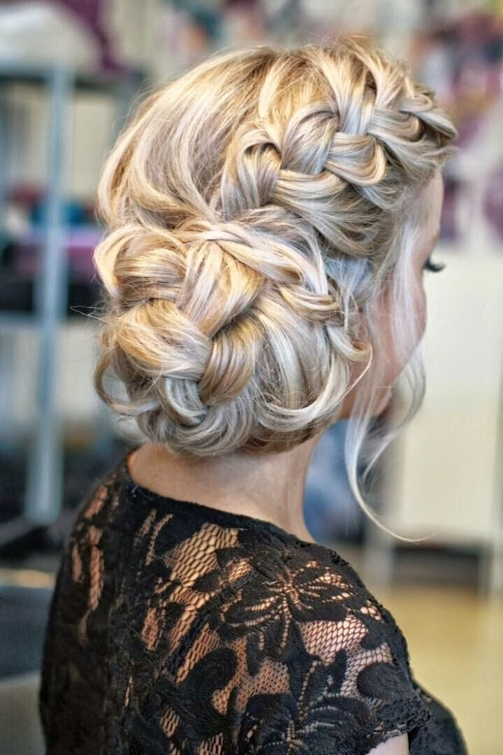 Side Braided Bun Hairstyle for Wedding