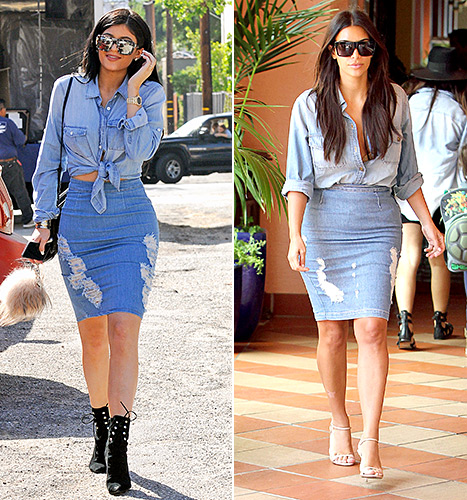 Kim Kardashian first wore her double-denim ensemble in August 2014 and Kylie Jenner wore a similar look of a chambray shirt and jean skirt.