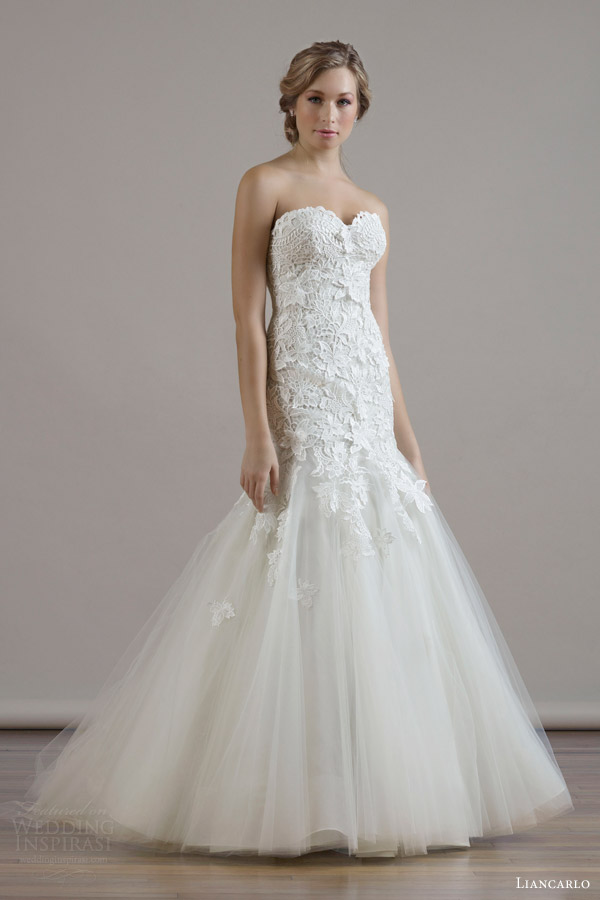 liancarlo bridal fall 2015 wedding dress style 6806 guipure lace on illusion tulle drop waist trumpet gown