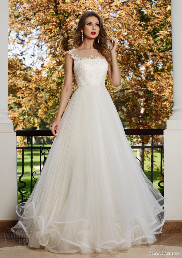 maya fashion 2015 royal bridal collection illusion cap sleeve wedding dress crin horsehair skirt m30