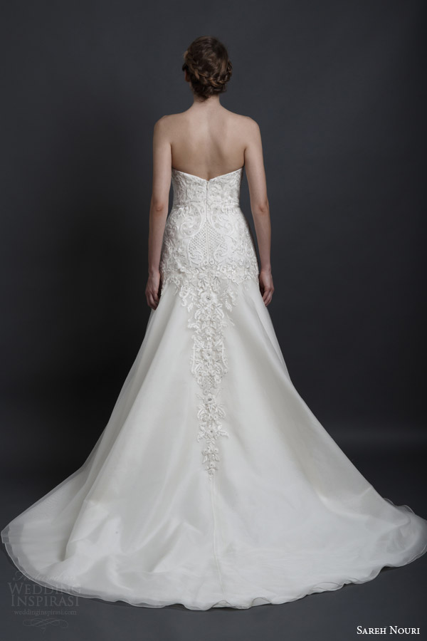 sareh nouri spring 2016 bridal dorothy strapless sweetheart a line wedding dress embroidery bodice back view train
