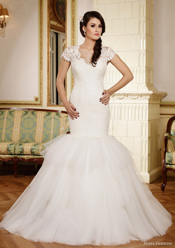 maya fashion 2015 royal bridal collection cap sleeve mermaid wedding dress m36