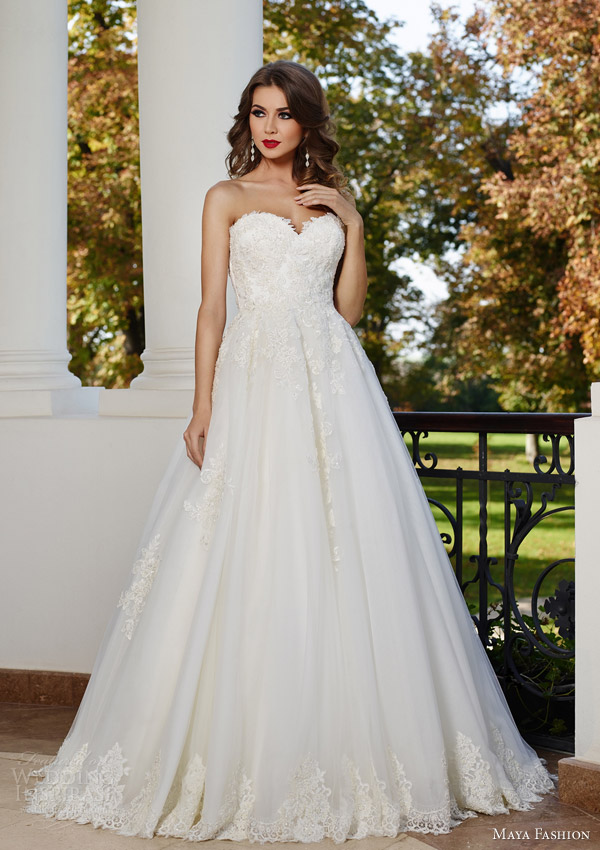 maya fashion 2015 royal bridal collection strapless ball gown wedding dress lace bodice sweetheart neckline m24