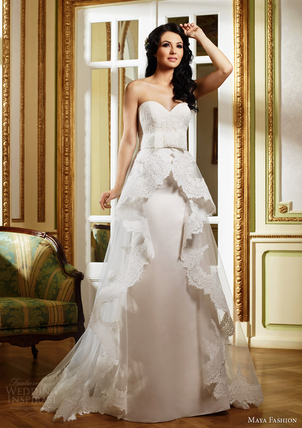 maya fashion 2015 royal bridal collection strapless wedding dress lace peplum overskirt m29