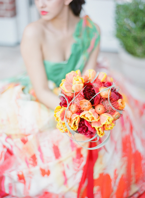 warm toned bouquet - photo by Shannon Duggan Photography http://ruffledblog.com/propel-workshop-shoot-with-a-handpainted-gown