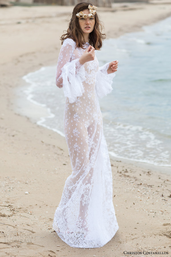 christos costarellos bridal 2016 17 long bell sleeves bohemian lace wedding dress high neck