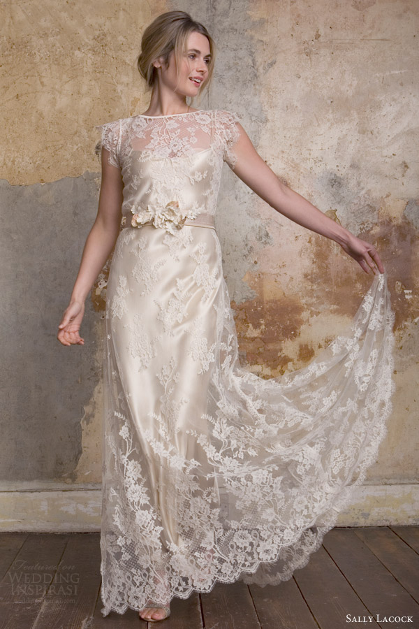 sally lacock bridal 2015 flora french lace wedding dress scalloped illusion cap sleeves