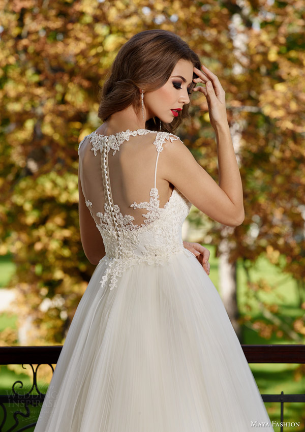 maya fashion 2015 royal bridal collection illusion cap sleeve wedding dress crin horsehair skirt m30 back view close up