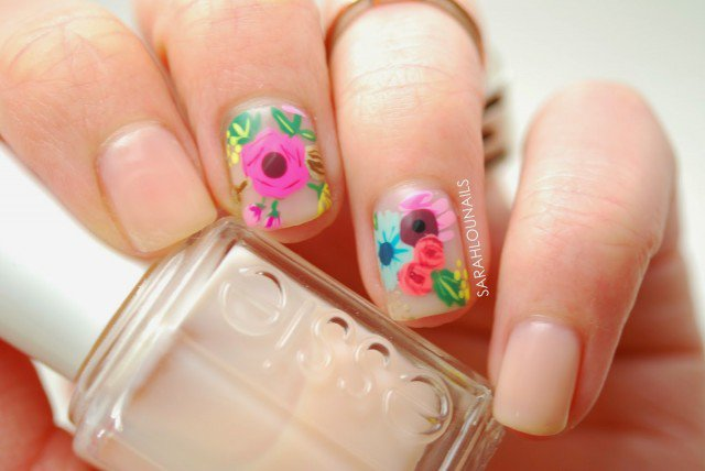 Nude Floral Accent Nails 3 copy