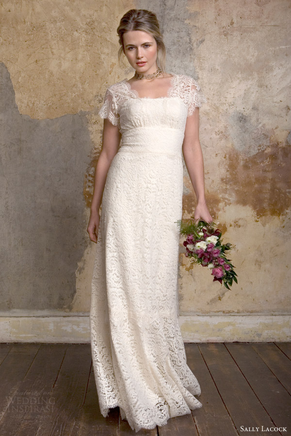 sally lacock 2015 bridal georgie rustic country wedding dress scalloped lace short sleeves