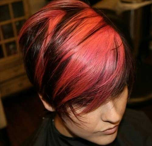 Two Tone Pink and Dark Short Hair