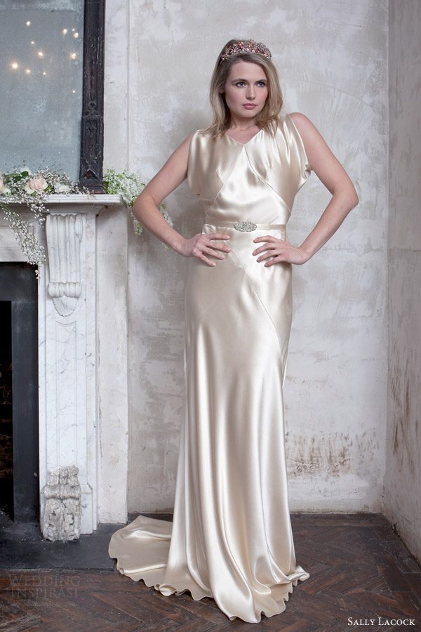 sally lacock 2015 bridal madeleine wedding dress vintage hollywood style silk antique gold front view