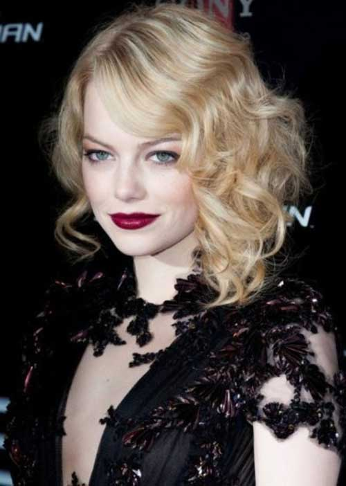 Emma Stone's Blonde Bob Cuts for Curly Hair
