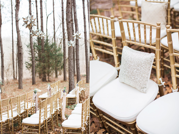 ceremony seating - photo by Jen and Chris Creed http://ruffledblog.com/purple-and-ivory-wedding-in-the-woods