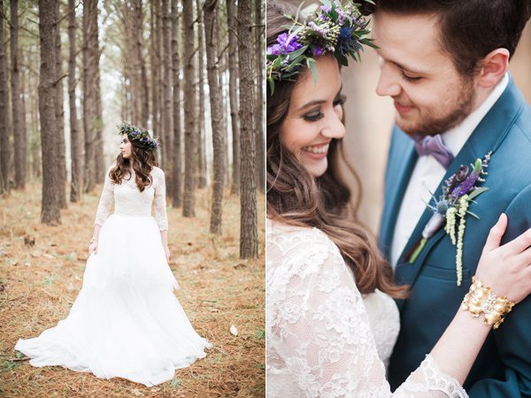 bridal fashion - photo by Jen and Chris Creed http://ruffledblog.com/purple-and-ivory-wedding-in-the-woods