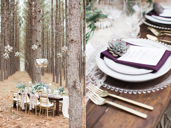 elegant tablescape - photo by Jen and Chris Creed http://ruffledblog.com/purple-and-ivory-wedding-in-the-woods