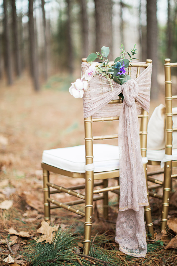 wedding ceremony chairs - photo by Jen and Chris Creed http://ruffledblog.com/purple-and-ivory-wedding-in-the-woods