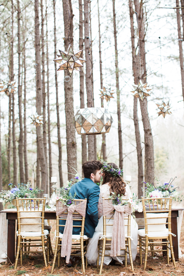 forest wedding with glam details - photo by Jen and Chris Creed http://ruffledblog.com/purple-and-ivory-wedding-in-the-woods