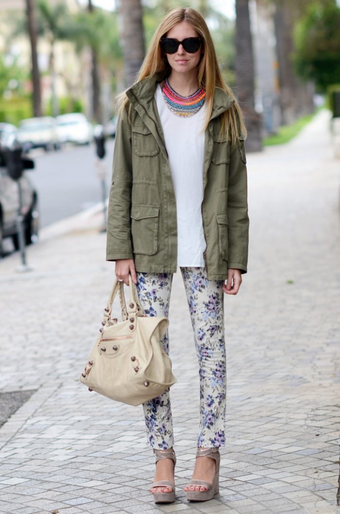 utility jacket and floral pants