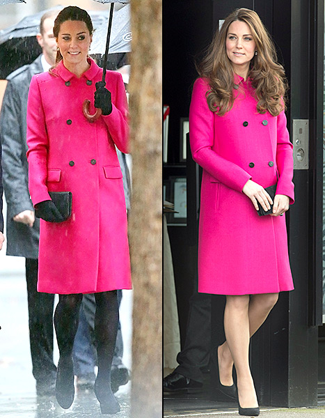 Kate Middleton worked this fuchsia topper while in NYC in December, and again in London this past March.