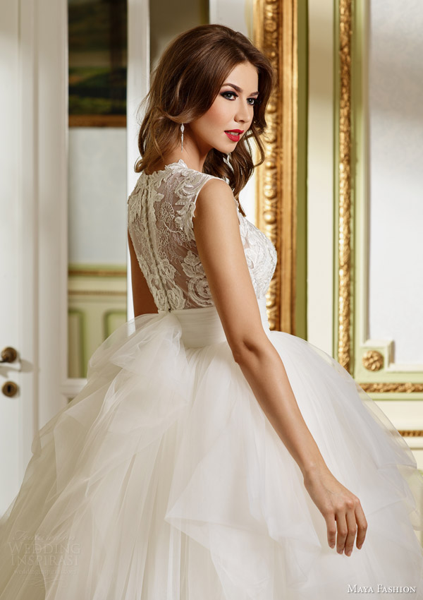 maya 2015 royal bridal collection sleeveless ball gown wedding dress lace bodice m48 back view close up