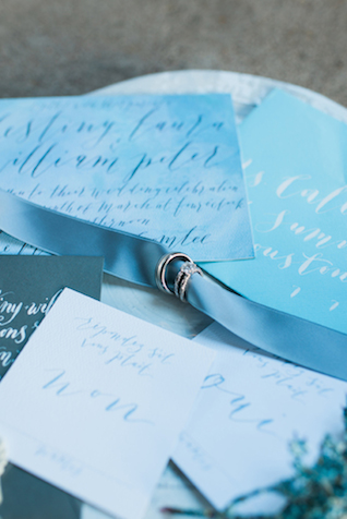 Dusty blue wedding invitations | Elisheva Golani Photography and Belle Soul Weddings | see more on: http://burnettsboards.com/2015/05/romantic-dusty-blue-wedding/