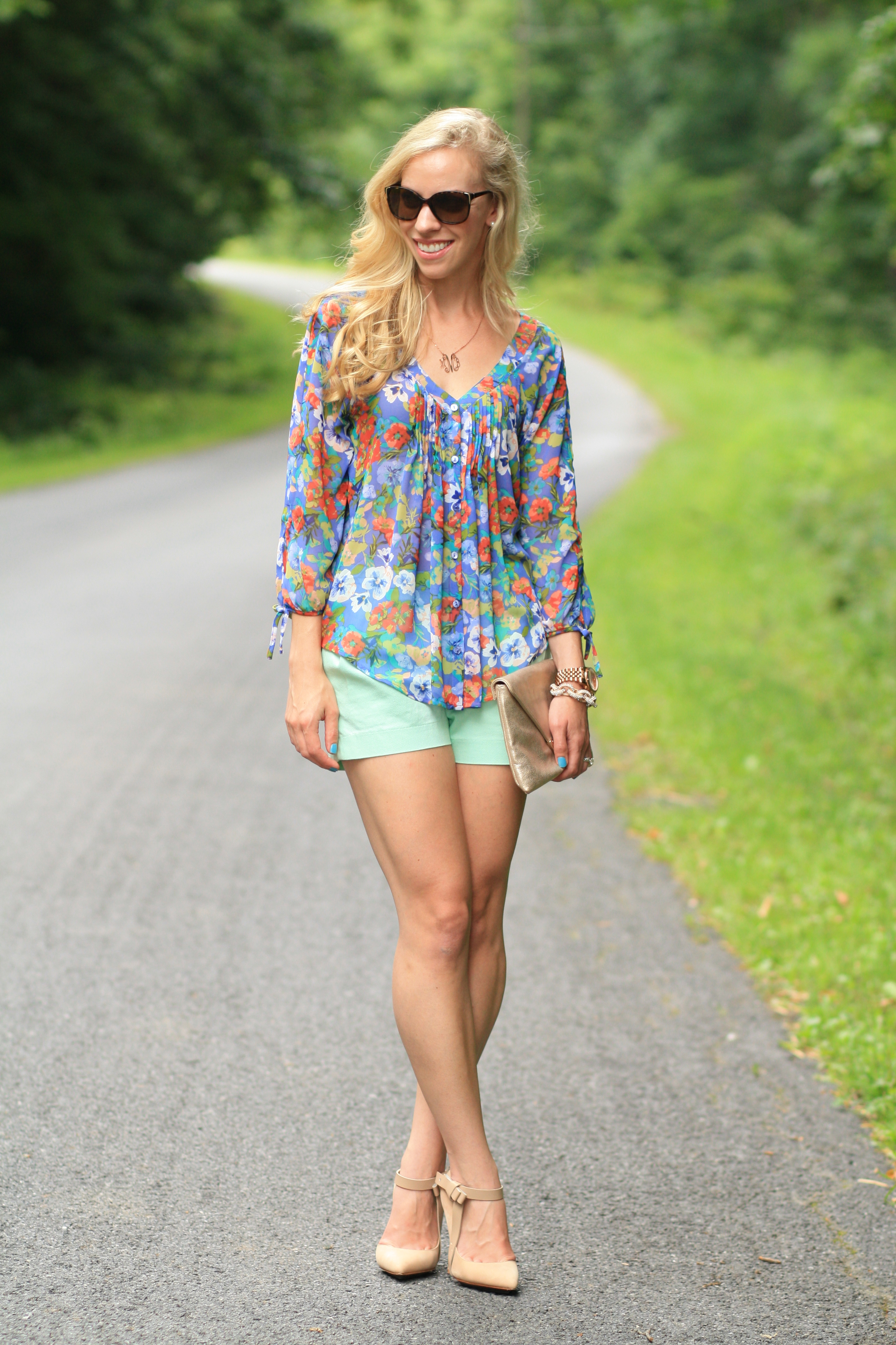 floral peasant blouse and shorts