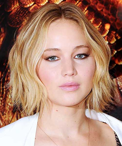 Jennifer Lawrence Bob for Round Faces
