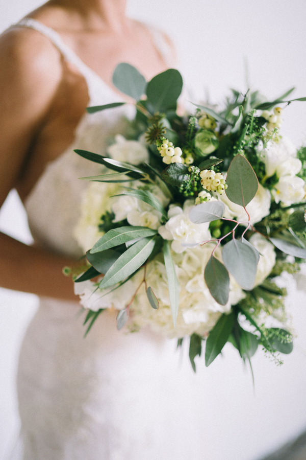 eucalyptus hydrangea bouquet - photo by Jaimee Morse http://ruffledblog.com/woodland-romance-wedding