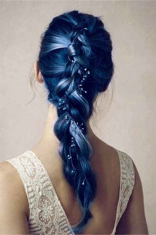 Gorgeous Long Braid Ponytail Hairstyle for Blue Hair