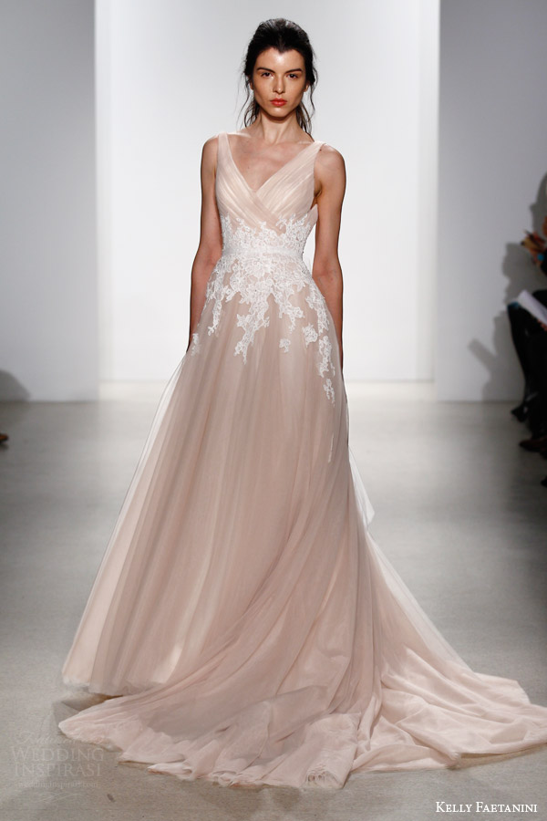 kelly faetanini bridal spring 2016 yona sleeveless blush wedding dress surplice criss cross bodice straps white lace