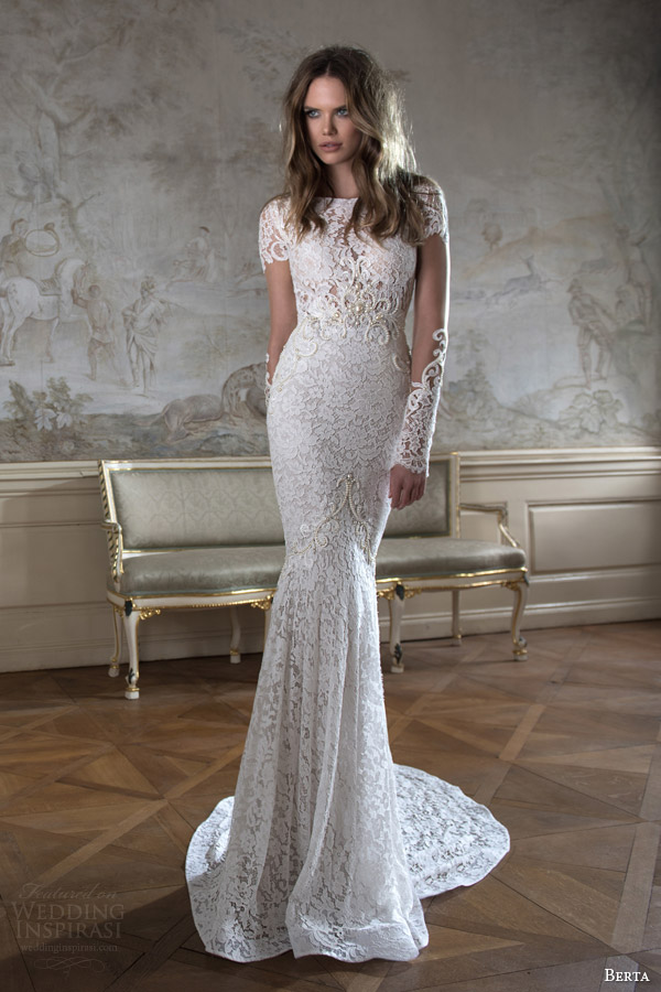berta bridal fall 2015 illusion long sleeve high neck lace wedding dress