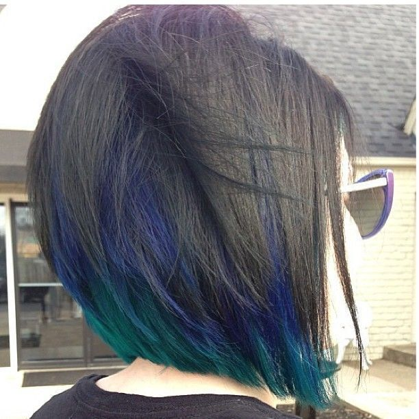 Blunt Bob Hairstyle with Blue Highlights