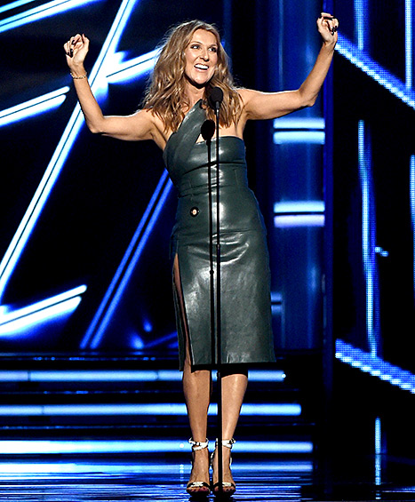 Celine Dion speaks onstage during the 2015 Billboard Music Awards at MGM Grand Garden Arena on May 17, 2015 in Las Vegas, Nevada.