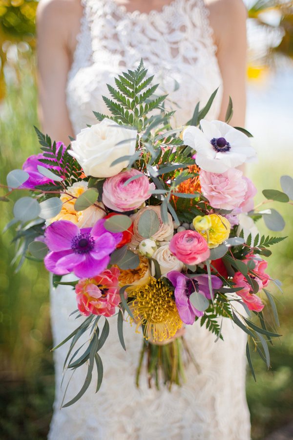 wedding bouquet with purple - photo by Samantha McFarlen http://ruffledblog.com/seattle-watercolor-wedding-editorial
