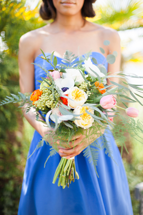bouquet with tulips and anemone - photo by Samantha McFarlen http://ruffledblog.com/seattle-watercolor-wedding-editorial