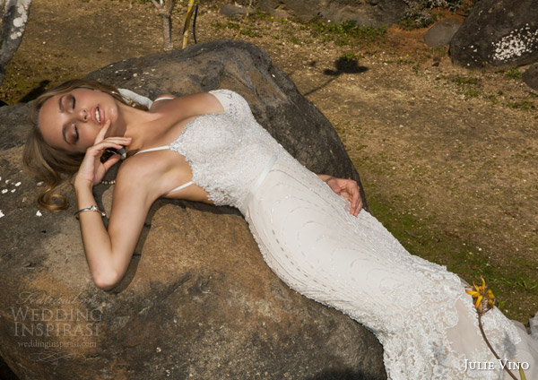 julie vino spring 2015 desert rose bridal collection nikita sleeveless lace wedding dress straps close up bodice