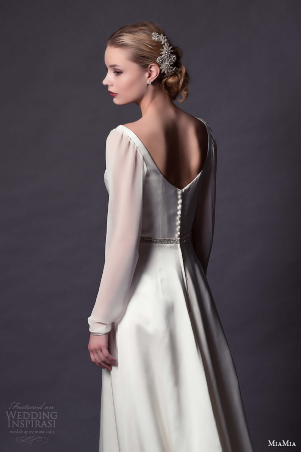 miamia margeurite hannah bridal 2015 kirsten illusion long sleeve scoop neck wedding dress back view buttons