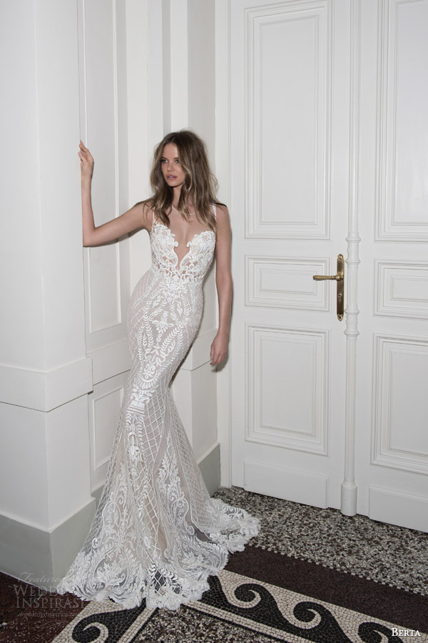 berta bridal fall 2015 beaded lace sheath wedding dress illusion neckline full view