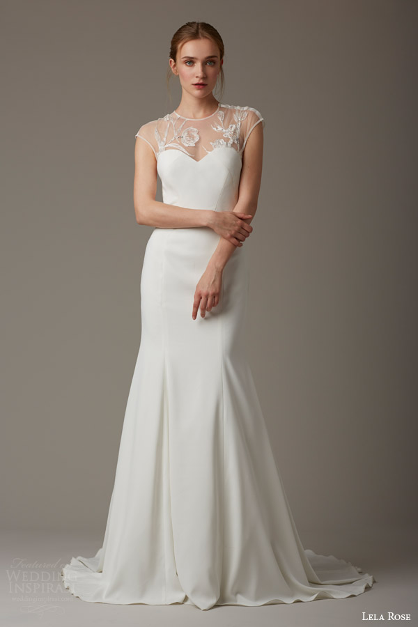 lela rose bridal spring 2016 the parish illusion cap sleeve wedding dress trumpet silhouette