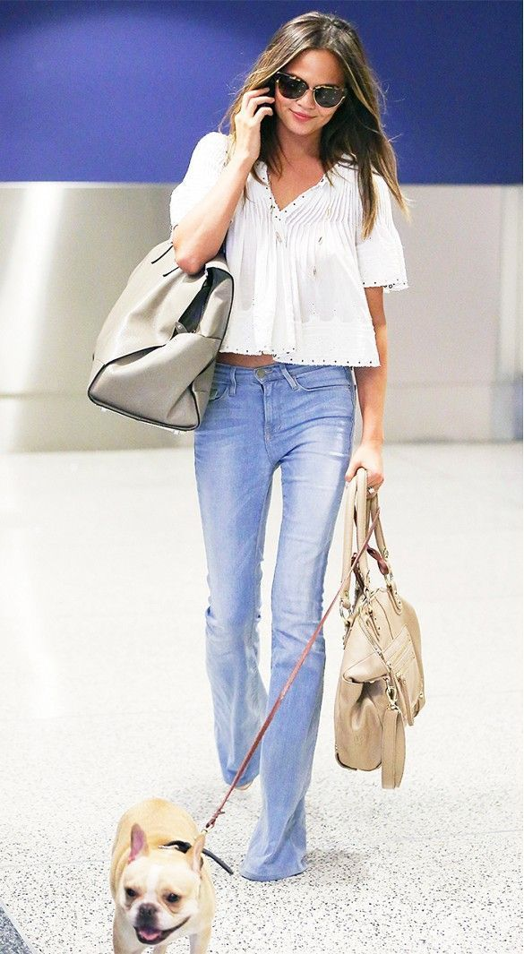 peasant blouse and bell bottom jeans