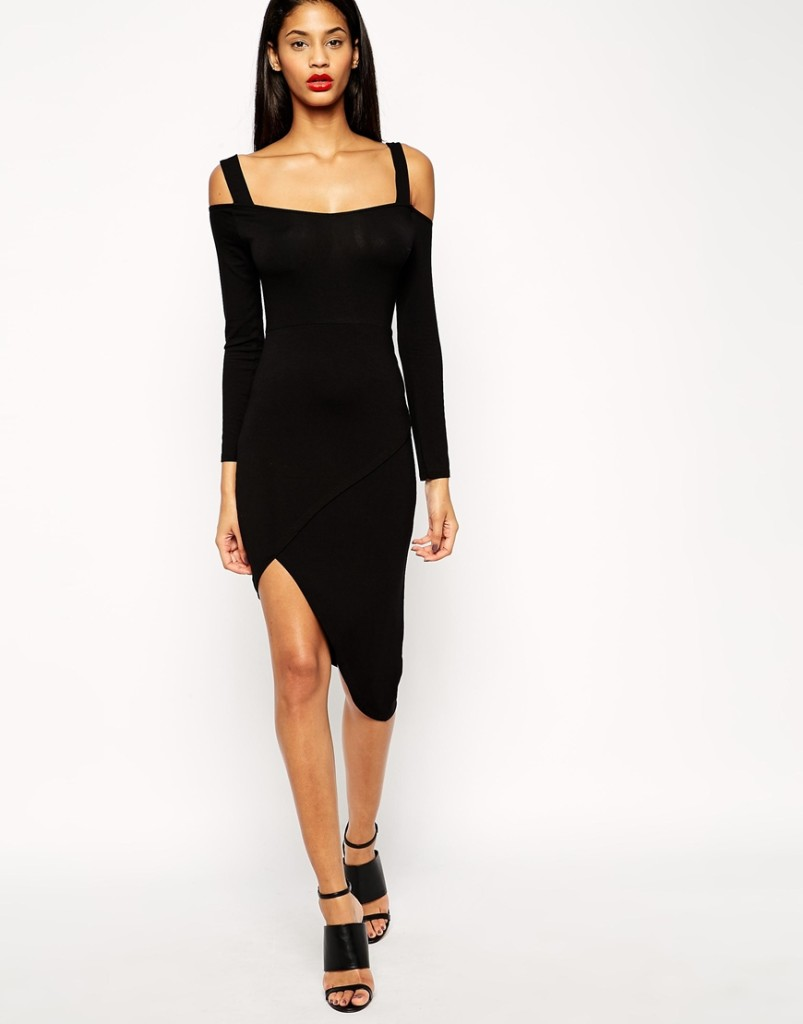 Thin straps long-sleeved irregular backless dress