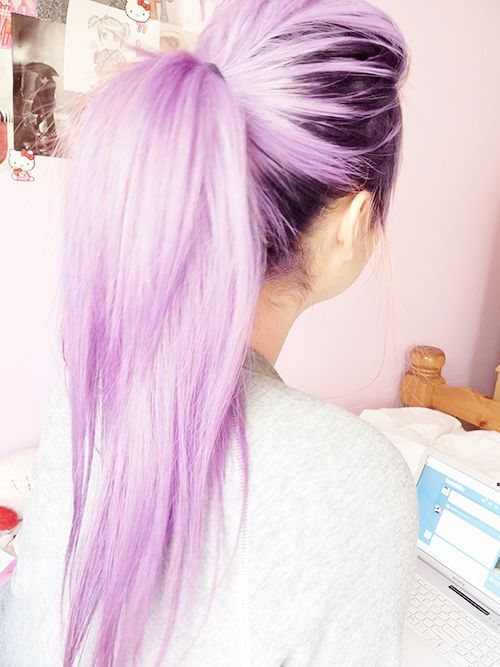 Simple Ponytail for Long Purple Hair