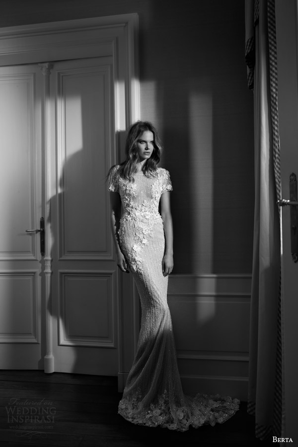 berta fall 2015 bridal short sleeve sheath wedding dress