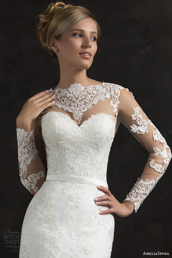 amelia sposa 2015 bridal essenia illusion long sleeve lace wedding dress trumpet silhouette close up bodice
