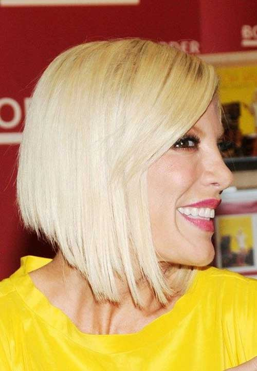 Tori Spelling Angled Bob with Bangs